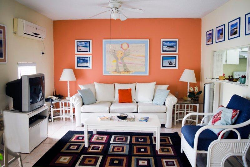 Il divano nel soggiorno è un divano letto matrimoniale