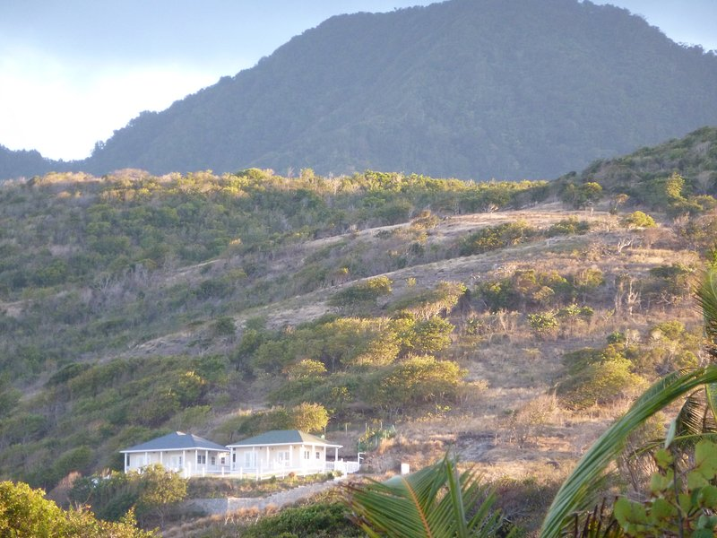 Seagrapeheights Cottages with Mount Nevis in background as seen from nearby beach