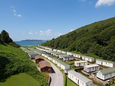 Bovisand Lodge Holiday Park - view through park to beach