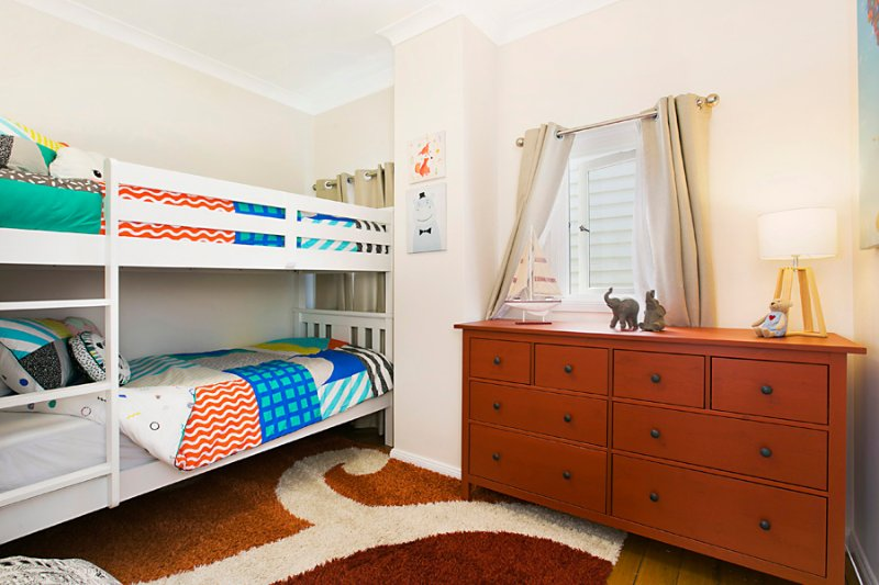 Bedroom 3: King single bunk. Can sleep 2 smaller children in lower bed with 1 child above.