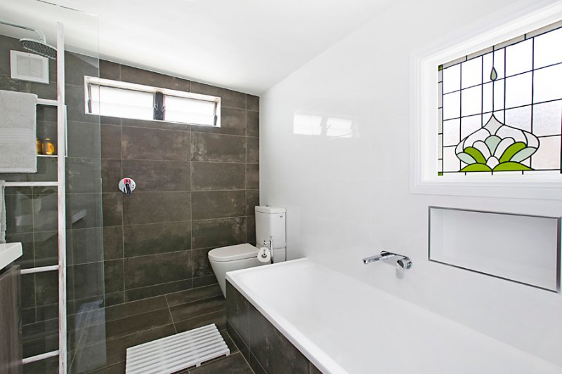 Large bath and shower.