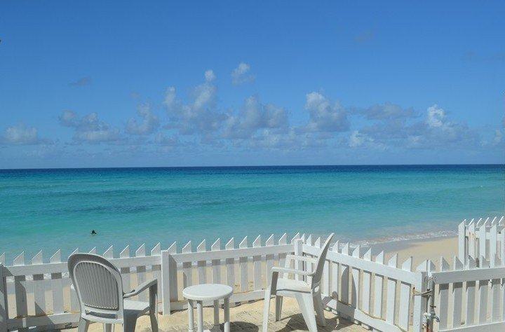 Patio on the beach and ocean