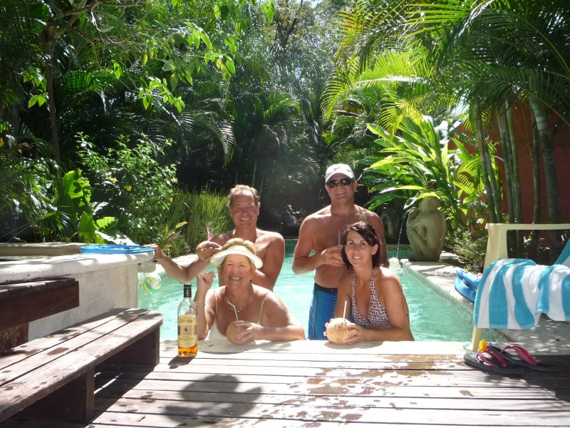 Rum in Coconuts Picked from the Gardens at the Stef Surf Pool
