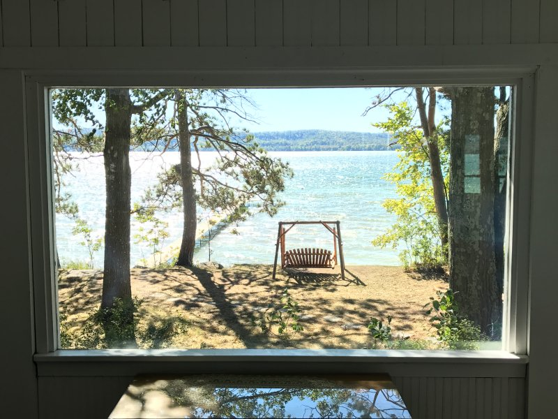 Lake side porch view picture window