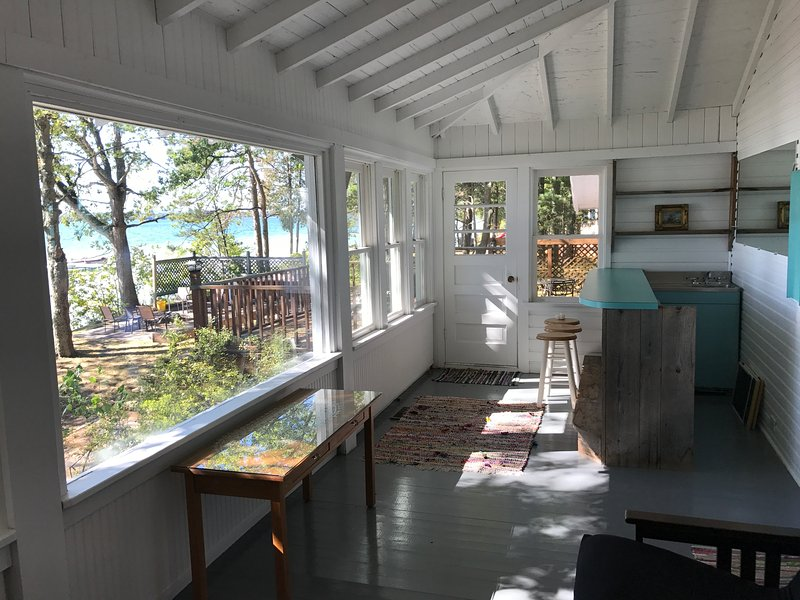 Lake side porch with deck access