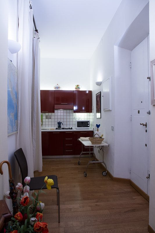 Entrance of the apartment with window and kitchen on the right