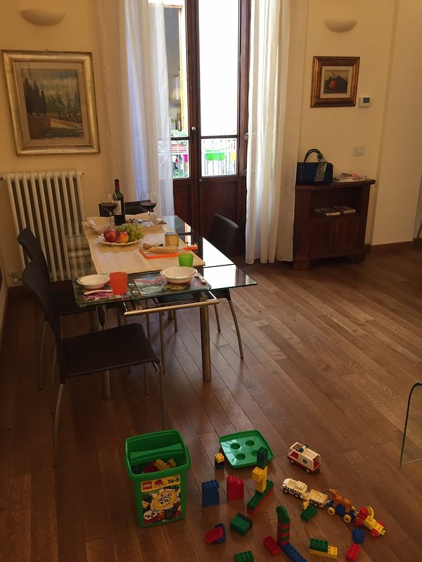 Table enlarged + Lego toys for children