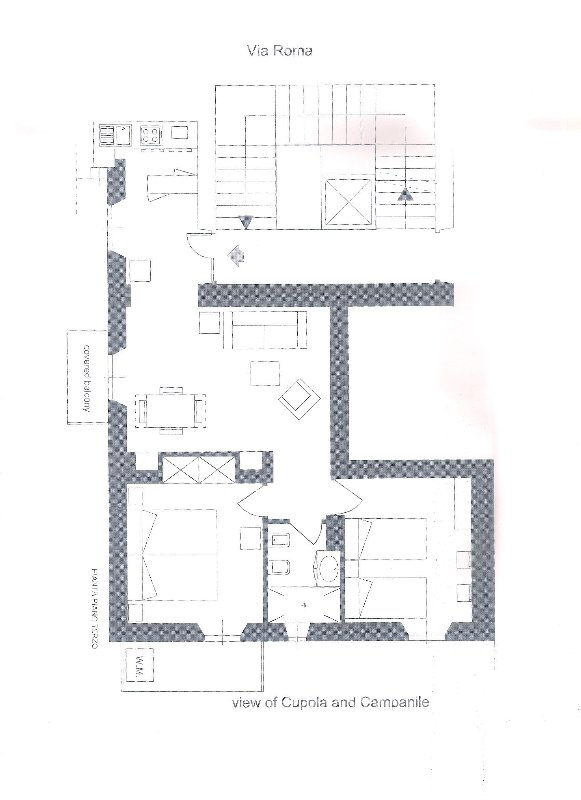 Map of the apartment with distribution of rooms and inner yard balcony and view balcony