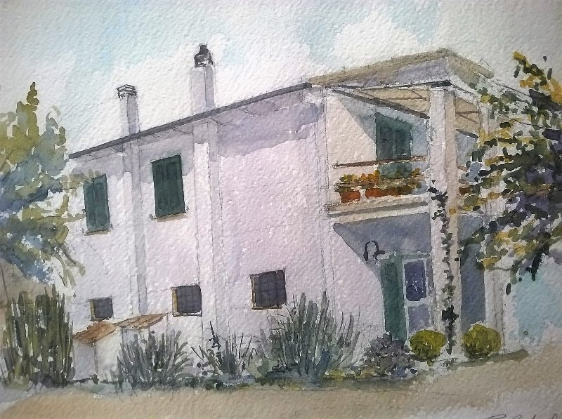 Unser Haus (Aquarell von Carla Tinarelli).