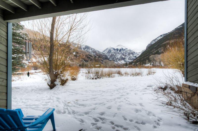Snowy View from the patio of the Buena Vista condo