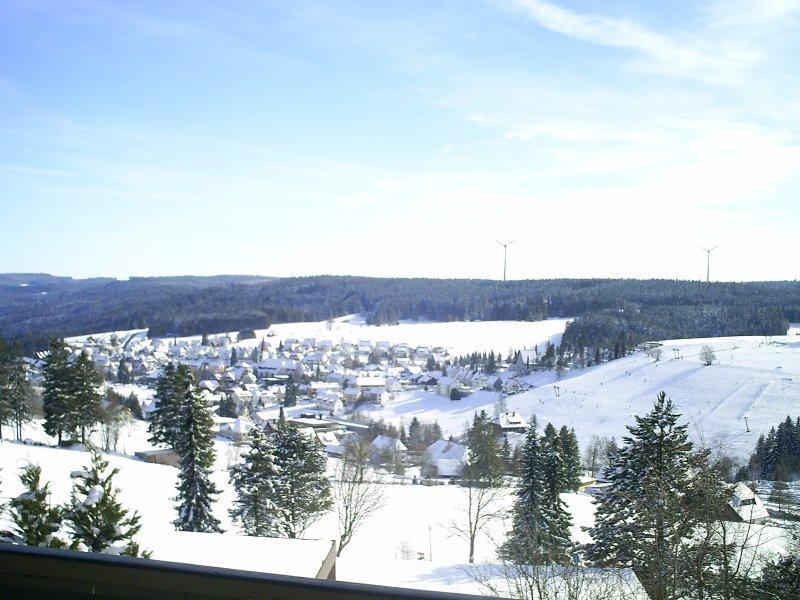 Vista desde el balcón en Schonach en la nieve