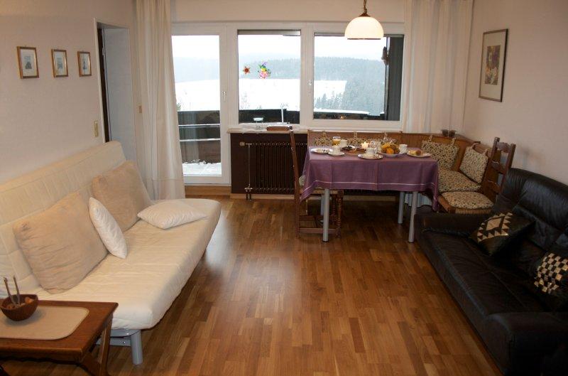 Sala y comedor con balcón y vistas de Schonach y las montañas de la Selva Negro.
