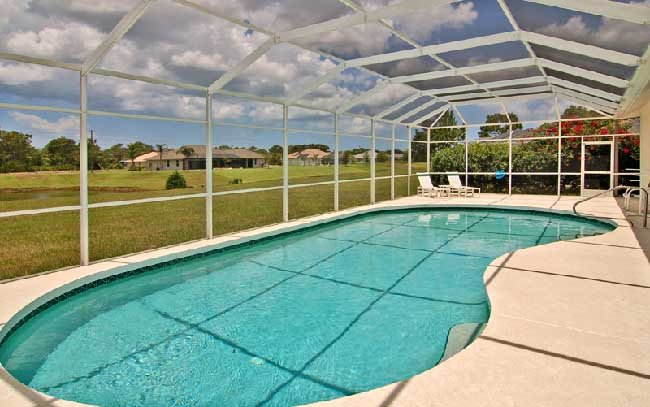 Pool with extended deck area