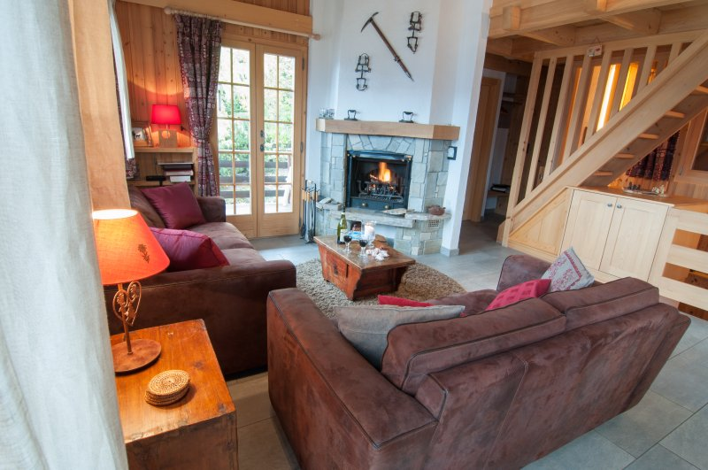 Wood burning fire in the open plan living area.