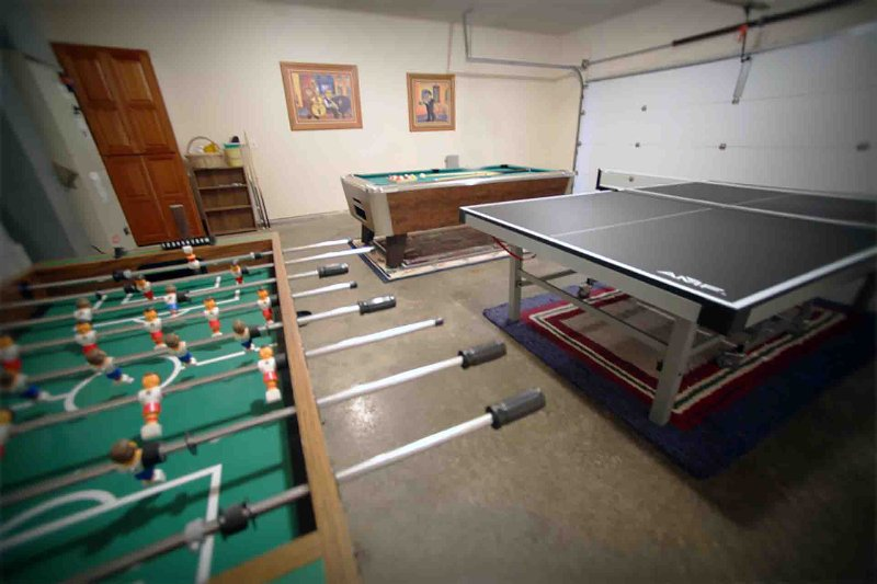 Game Room with Pool Table, Foosball, and Ping Pong!