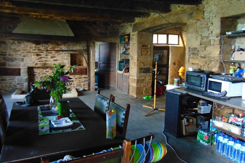 shared kitchen / dining area in the main farmhouse