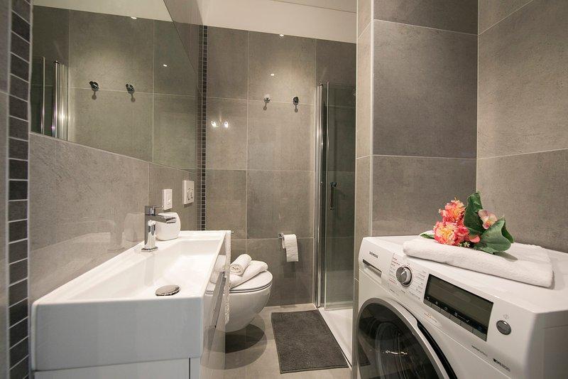 Salle de bain avec douche, toilette et machine à laver