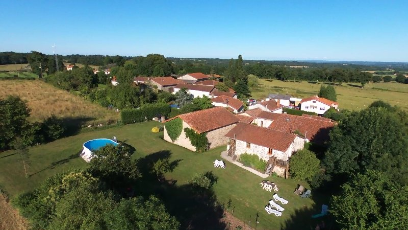overhead view of the gite complex and garden