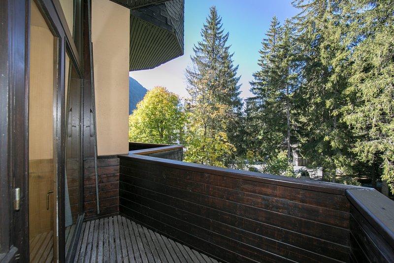 Balcony overlooking the communal garden