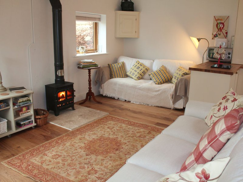 The spacious sitting area with woodburning stove