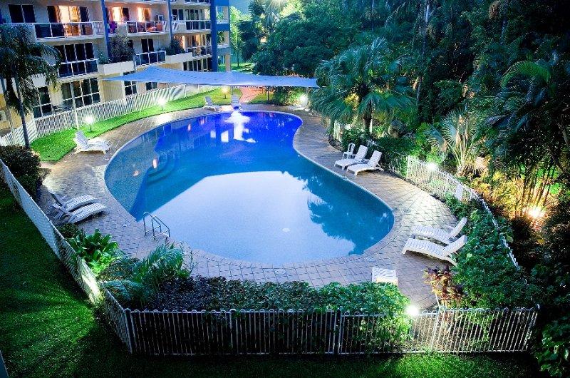 Pool from balcony at dusk