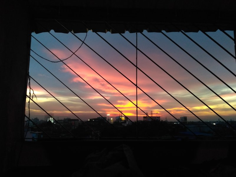 Sunset view from the bed.
