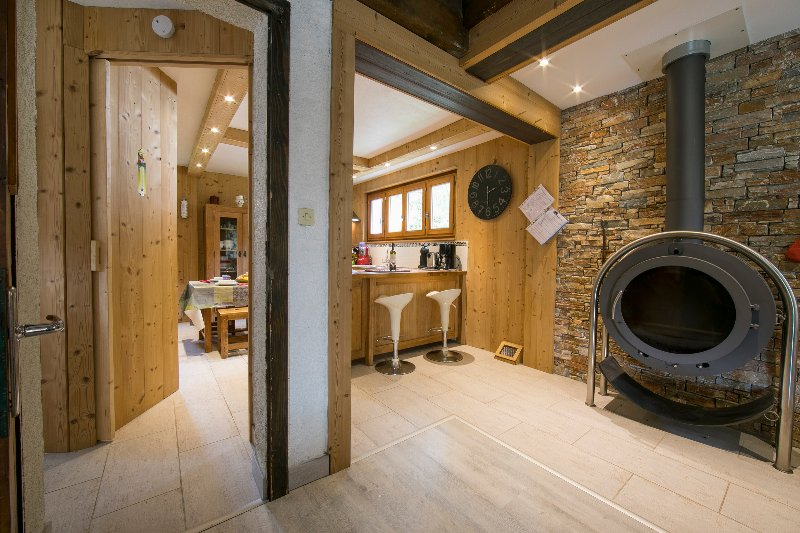 Open kitchen with a wood burner - cosy in winter