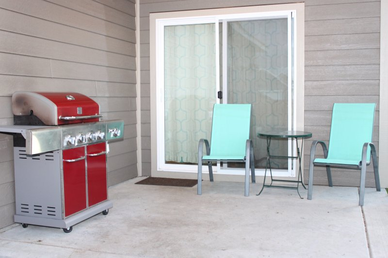 Patio in back with BBQ