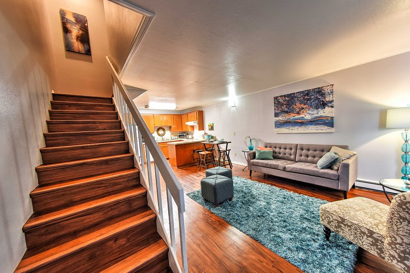 Head upstairs to access the home's bedrooms.