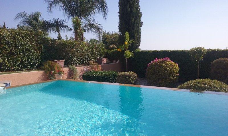 Infinity pool over gardens