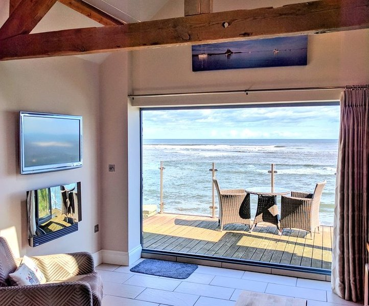 The sea view balcony from the open plan lounge & kitchen area.