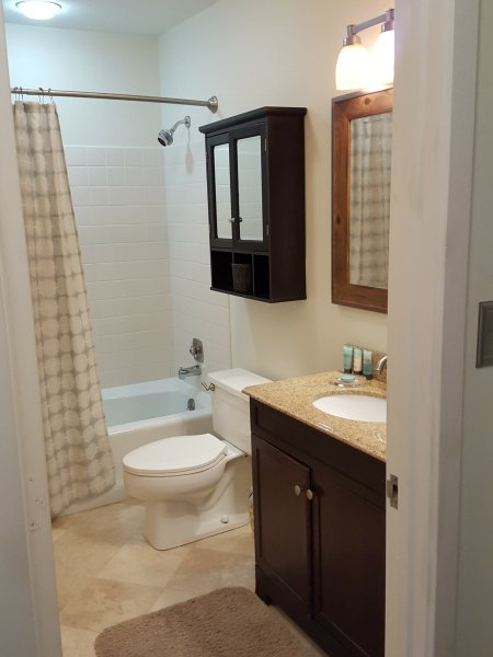 View of Master Bathroom with New Marble Tile Floor