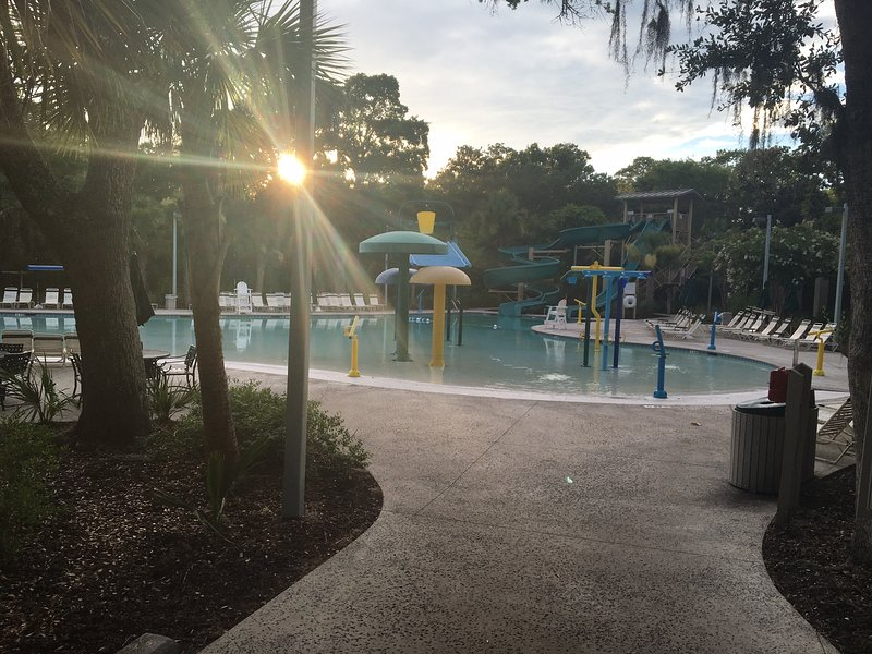 View of Childrens Pool at Night Heron Park