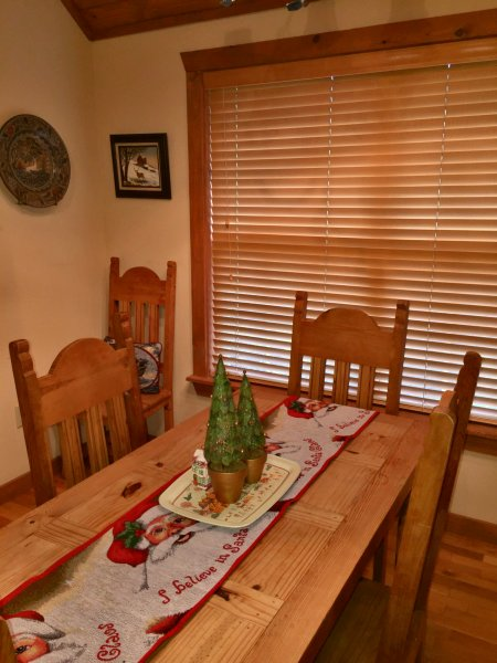 Dining Room table with Christmas decor items