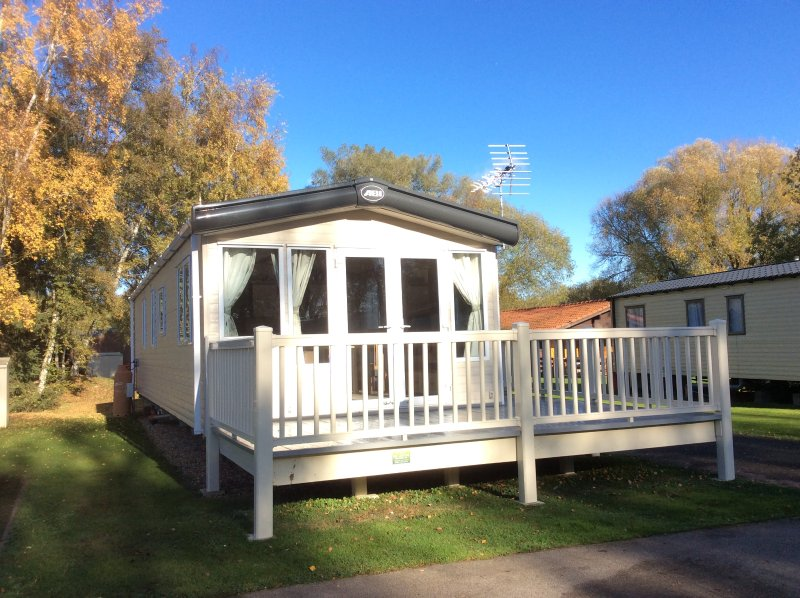 Great south facing secure patio area, the caravan is on an access only road. Fantastic for children.