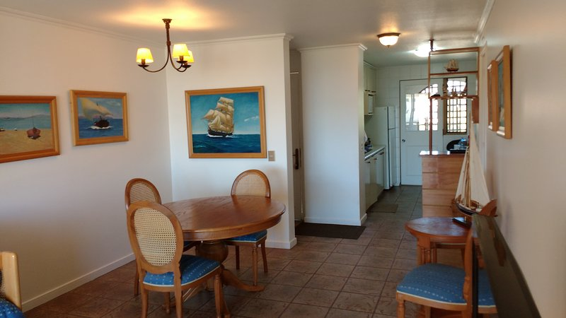 Dining room, kitchen and small loggia to store toiletries.