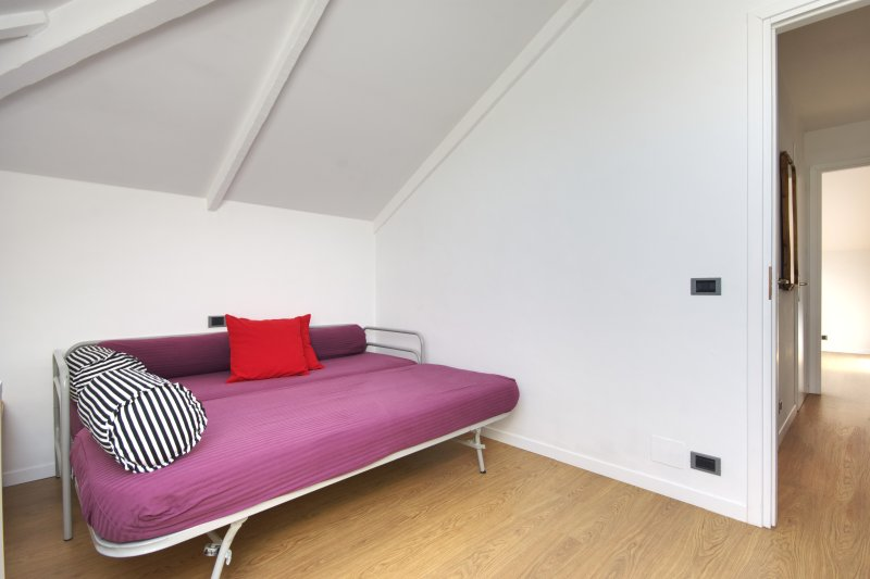 Bedroom #2 with two single beds paired