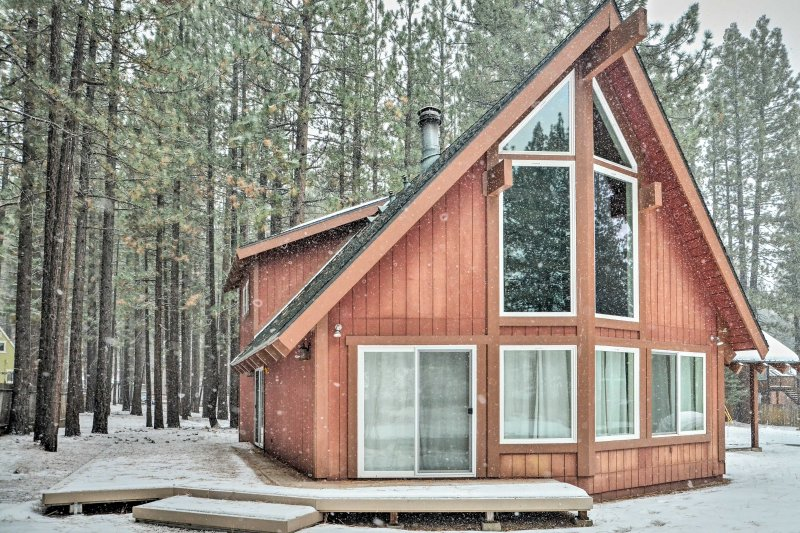 Book this A-frame vacation rental cabin for your next trip to South Lake Tahoe!