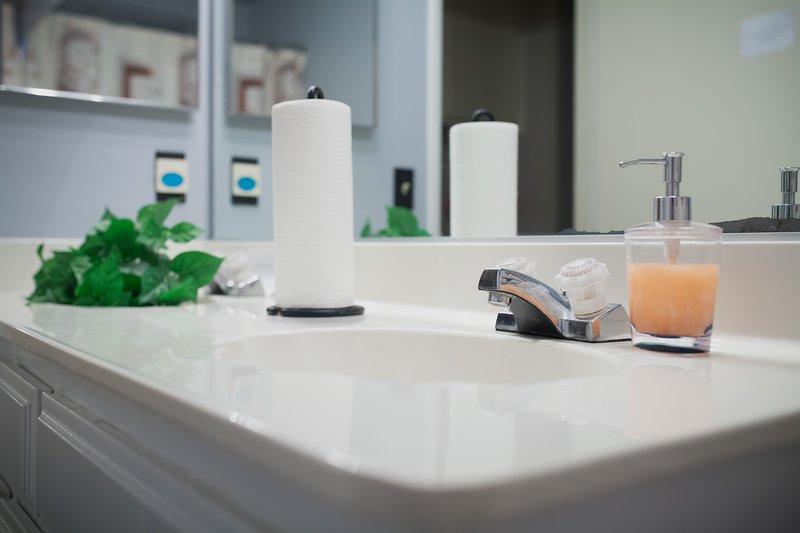 Véase a sí mismo la reposición de baño aquí a diario desinfectados