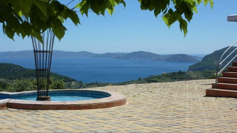 view from pool terrace upon neighbour island Alonissos