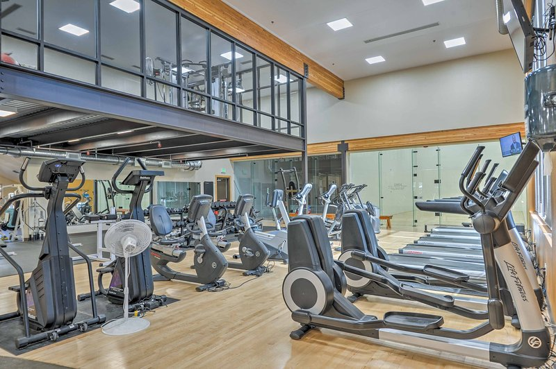 The rec center has a heated saltwater pool, a child pool and a fitness center!