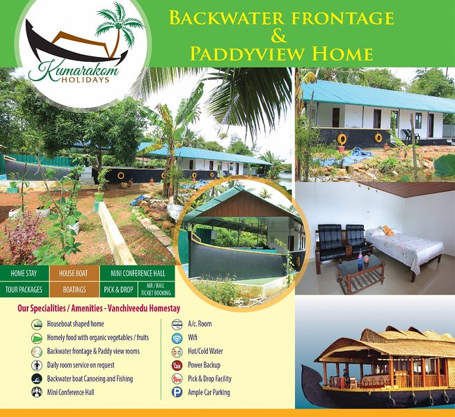 Kumarakom Holidays.  A Backwater Frontage & Paddyview Homestay, vacation rental in Kottayam