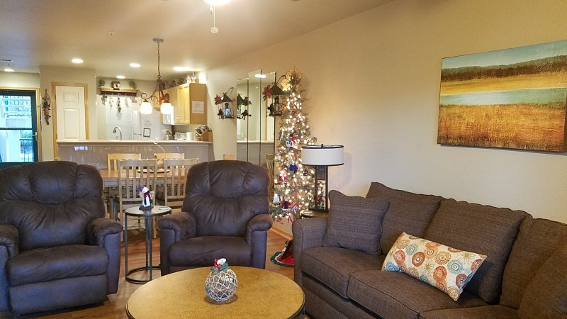2 Bedroom Walk-In 2 Rocker Recliners and Sofa Sleeper Decorated for Christmas