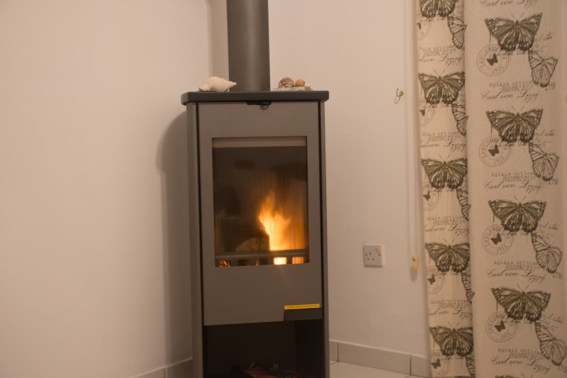A log burner for our winter guests. The nights do get chilly in the short Cypriot winter.