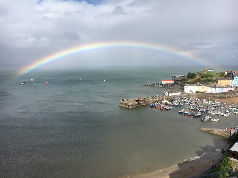 Fantastic rainbow view from the roof terrace
