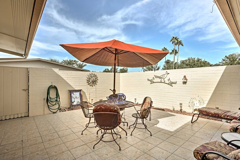 Enjoy the balmy Arizona breeze  from this spacious patio.