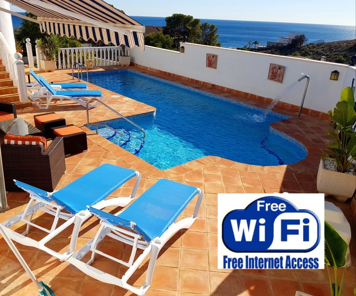 the beautiful secluded pool with stunning sea views