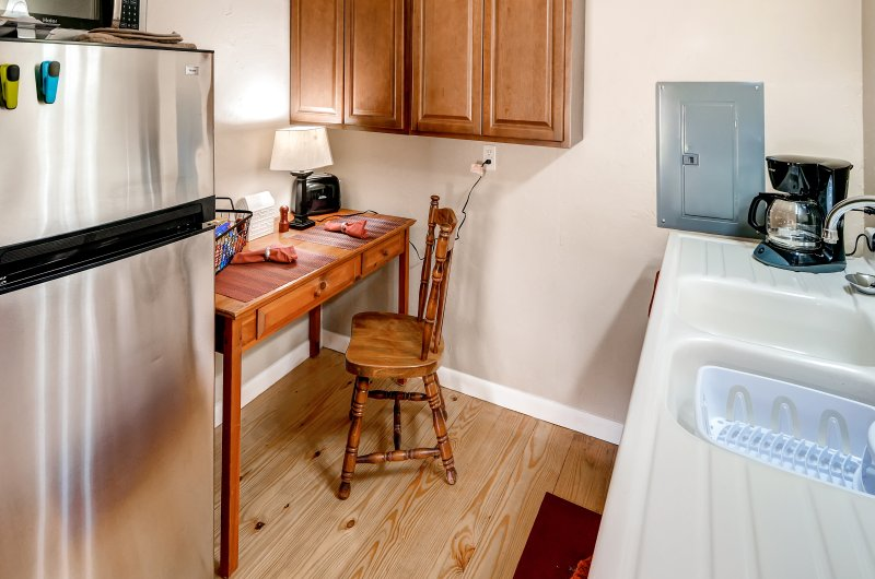 The bungalow even features its own private kitchenette.