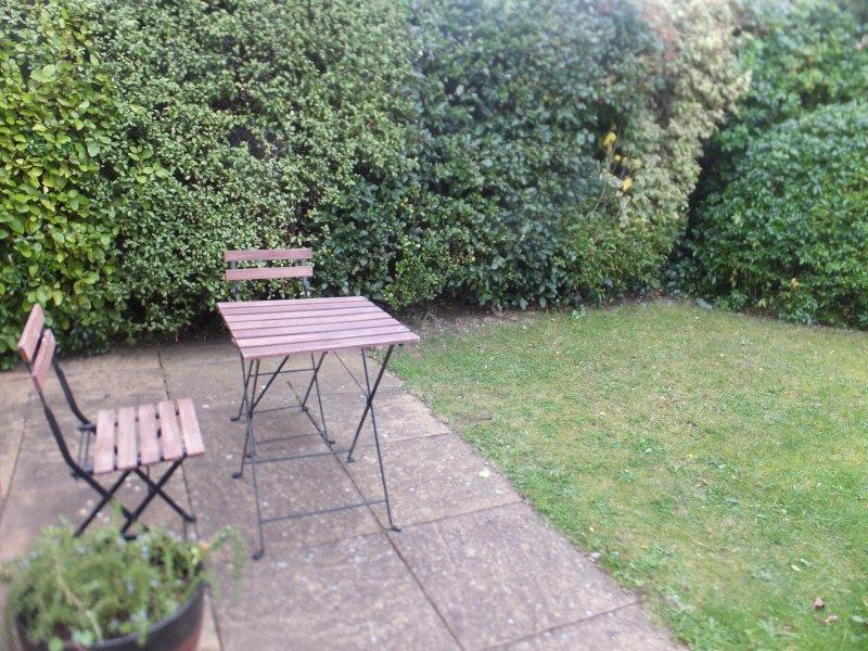 Spazio per il tè nel giardino soleggiato, piccolo, chiuso e alberato.