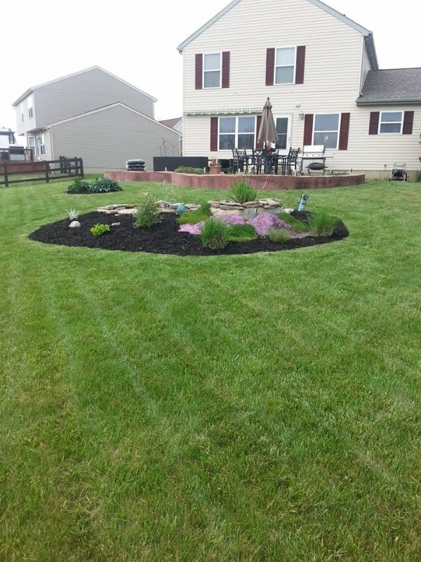 Manicured lawn with pond